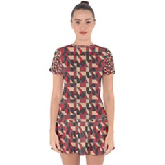 Pattern Textiles Drop Hem Mini Chiffon Dress by HermanTelo