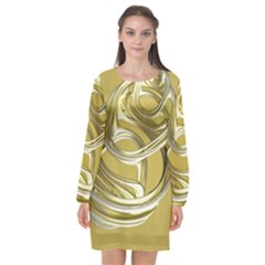Fractal Abstract Artwork Long Sleeve Chiffon Shift Dress