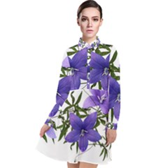 Flowers Blue Campanula Arrangement Long Sleeve Chiffon Shirt Dress by Pakrebo