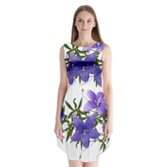 Flowers Blue Campanula Arrangement Sleeveless Chiffon Dress   by Pakrebo