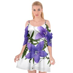 Flowers Blue Campanula Arrangement Cutout Spaghetti Strap Chiffon Dress by Pakrebo