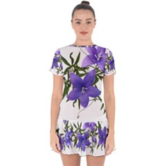 Flowers Blue Campanula Arrangement Drop Hem Mini Chiffon Dress by Pakrebo