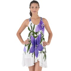 Flowers Blue Campanula Arrangement Show Some Back Chiffon Dress by Pakrebo