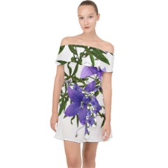 Flowers Blue Campanula Arrangement Off Shoulder Chiffon Dress by Pakrebo