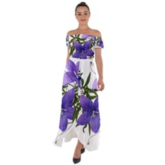 Flowers Blue Campanula Arrangement Off Shoulder Open Front Chiffon Dress by Pakrebo