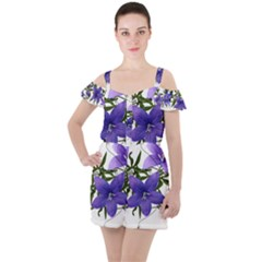 Flowers Blue Campanula Arrangement Ruffle Cut Out Chiffon Playsuit by Pakrebo
