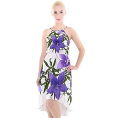 Flowers Blue Campanula Arrangement High-low Halter Chiffon Dress  by Pakrebo