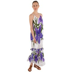 Flowers Blue Campanula Arrangement Cami Maxi Ruffle Chiffon Dress by Pakrebo