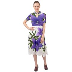 Flowers Blue Campanula Arrangement Keyhole Neckline Chiffon Dress by Pakrebo