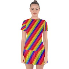 Rainbow Diagonal Stripes Drop Hem Mini Chiffon Dress by retrotoomoderndesigns