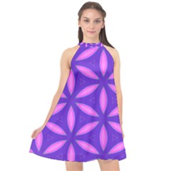 Pattern Texture Backgrounds Purple Halter Neckline Chiffon Dress  by HermanTelo
