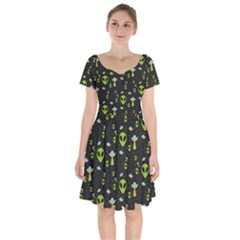 Alien Ufo Pattern Short Sleeve Bardot Dress by Vaneshart