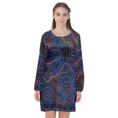Topographic Colorful Contour Illustration Background Long Sleeve Chiffon Shift Dress