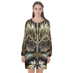 Roots Abstract Sectors Layers Colors Long Sleeve Chiffon Shift Dress