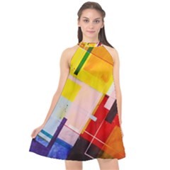 Abstract Lines Shapes Colorful Halter Neckline Chiffon Dress