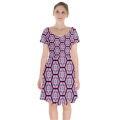 Background Pattern Tile Flower Short Sleeve Bardot Dress