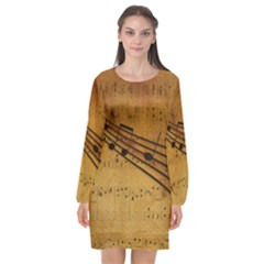 Background Music Long Sleeve Chiffon Shift Dress