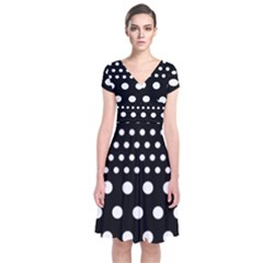Polka Dots Two Times 11 Black Short Sleeve Front Wrap Dress by impacteesstreetwearten