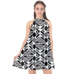 Graphic Design Decoration Abstract Seamless Pattern Halter Neckline Chiffon Dress