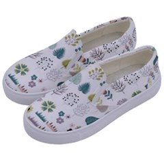 Cute Flowers Plants Big Collection Kids  Canvas Slip Ons by Vaneshart