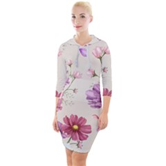 Vector Hand Drawn Cosmos Flower Pattern Quarter Sleeve Hood Bodycon Dress by Sobalvarro
