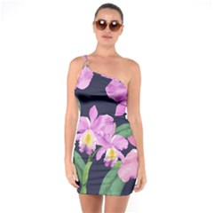 Vector Hand Drawn Orchid Flower Pattern One Soulder Bodycon Dress by Sobalvarro