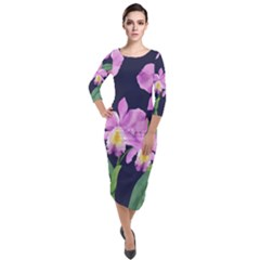 Vector Hand Drawn Orchid Flower Pattern Quarter Sleeve Midi Velour Bodycon Dress by Sobalvarro