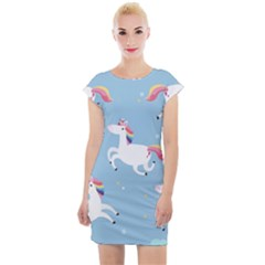 Unicorn Seamless Pattern Background Vector (2) Cap Sleeve Bodycon Dress by Sobalvarro