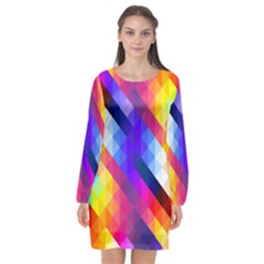 Abstract Blue Background Colorful Pattern Long Sleeve Chiffon Shift Dress  by HermanTelo