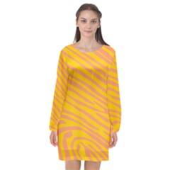Pattern Texture Yellow Long Sleeve Chiffon Shift Dress