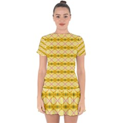 Pattern Pink Yellow Drop Hem Mini Chiffon Dress by HermanTelo