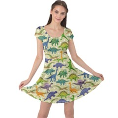Cute Dinosaurs Beige Cap Sleeve Dress by trulycreative