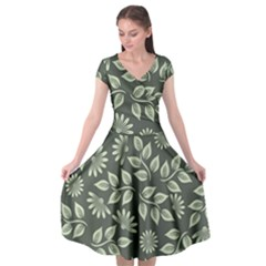 Flowers Pattern Spring Nature Cap Sleeve Wrap Front Dress by HermanTelo