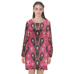 Background Abstract Pattern Long Sleeve Chiffon Shift Dress  by HermanTelo