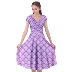 Pattern Texture Geometric Purple Cap Sleeve Wrap Front Dress by Mariart