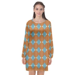 Pattern Brown Triangle Long Sleeve Chiffon Shift Dress  by HermanTelo