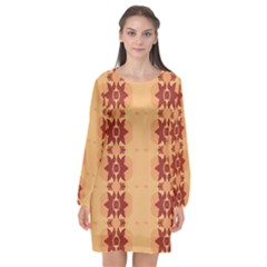Brown Flower Long Sleeve Chiffon Shift Dress  by HermanTelo