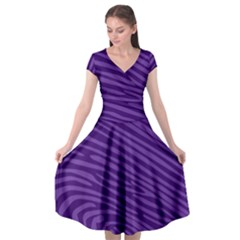 Pattern Texture Purple Cap Sleeve Wrap Front Dress by Mariart