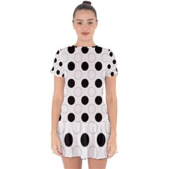 Background Dot Pattern Drop Hem Mini Chiffon Dress