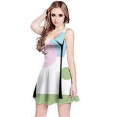 Forest Trees Nature Plants Reversible Sleeveless Dress