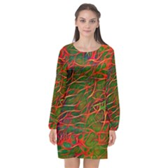 Background Pattern Texture Long Sleeve Chiffon Shift Dress