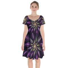 Fractal Flower Floral Abstract Short Sleeve Bardot Dress