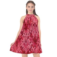 Background Abstract Surface Red Halter Neckline Chiffon Dress
