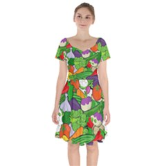 Vegetables Bell Pepper Broccoli Short Sleeve Bardot Dress