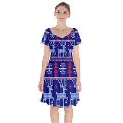 Knitted Christmas Pattern Short Sleeve Bardot Dress
