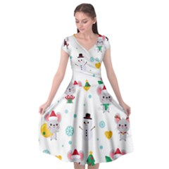 Christmas Seamless Pattern With Cute Kawaii Mouse Cap Sleeve Wrap Front Dress