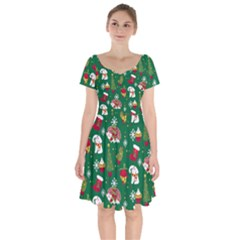Colorful Funny Christmas Pattern Green Short Sleeve Bardot Dress by Vaneshart
