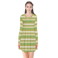 Stripey 11 Long Sleeve V-neck Flare Dress by anthromahe