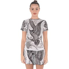 Owl Animals Wild Jungle Nature Drop Hem Mini Chiffon Dress by Bejoart