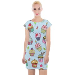 Cupcake Doodle Pattern Cap Sleeve Bodycon Dress by Sobalvarro